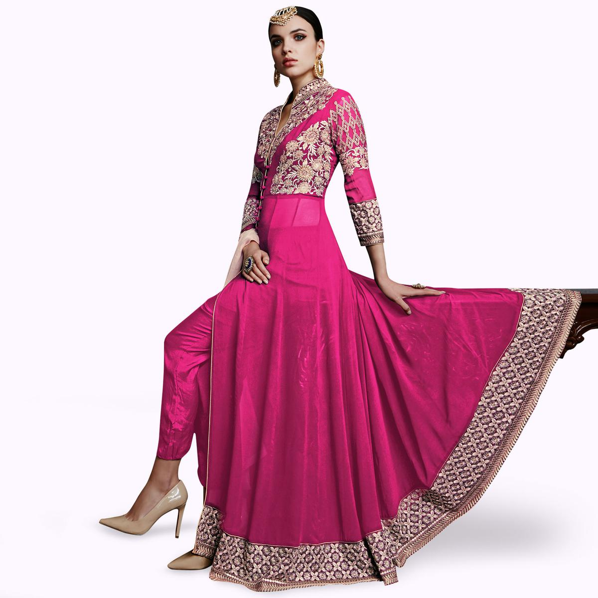 Amazing Pink Colored Partywear Embroidered Faux Georgette Anarkali Suit