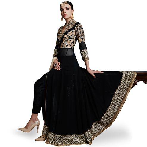 Flamboyant Black Colored Partywear Embroidered Faux Georgette Anarkali Suit