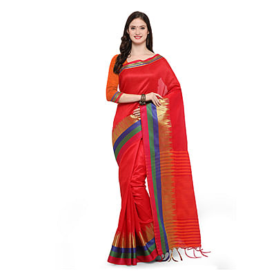 Red Festive Wear Woven Ghicha Silk Saree