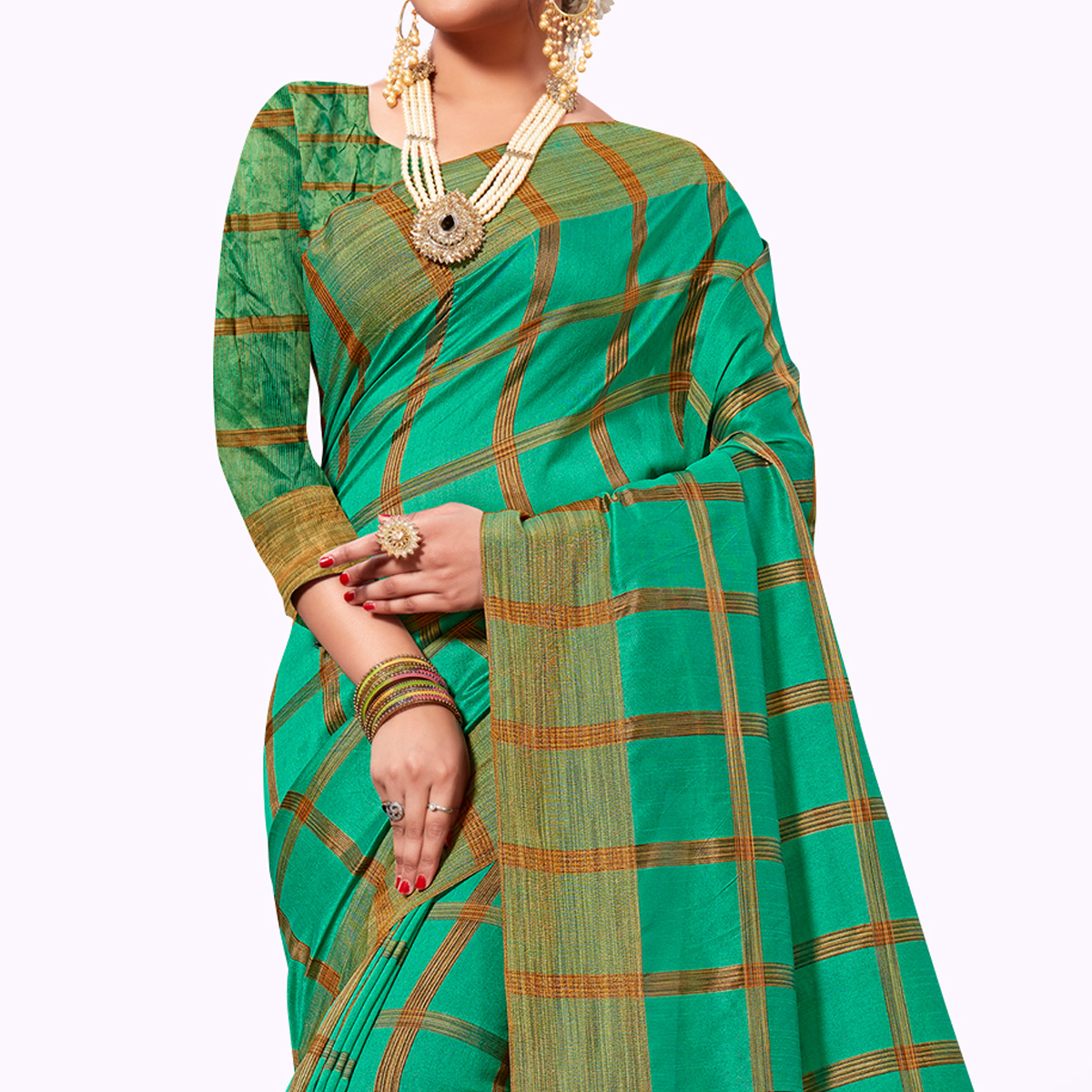 Refreshing Turquoise Green Colored Festive Wear Tissue Silk Saree