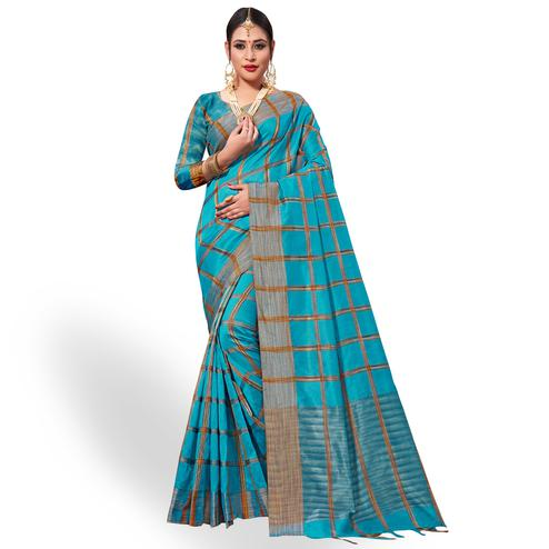 Appealing Sky Blue Colored Festive Wear Tissue Silk Saree