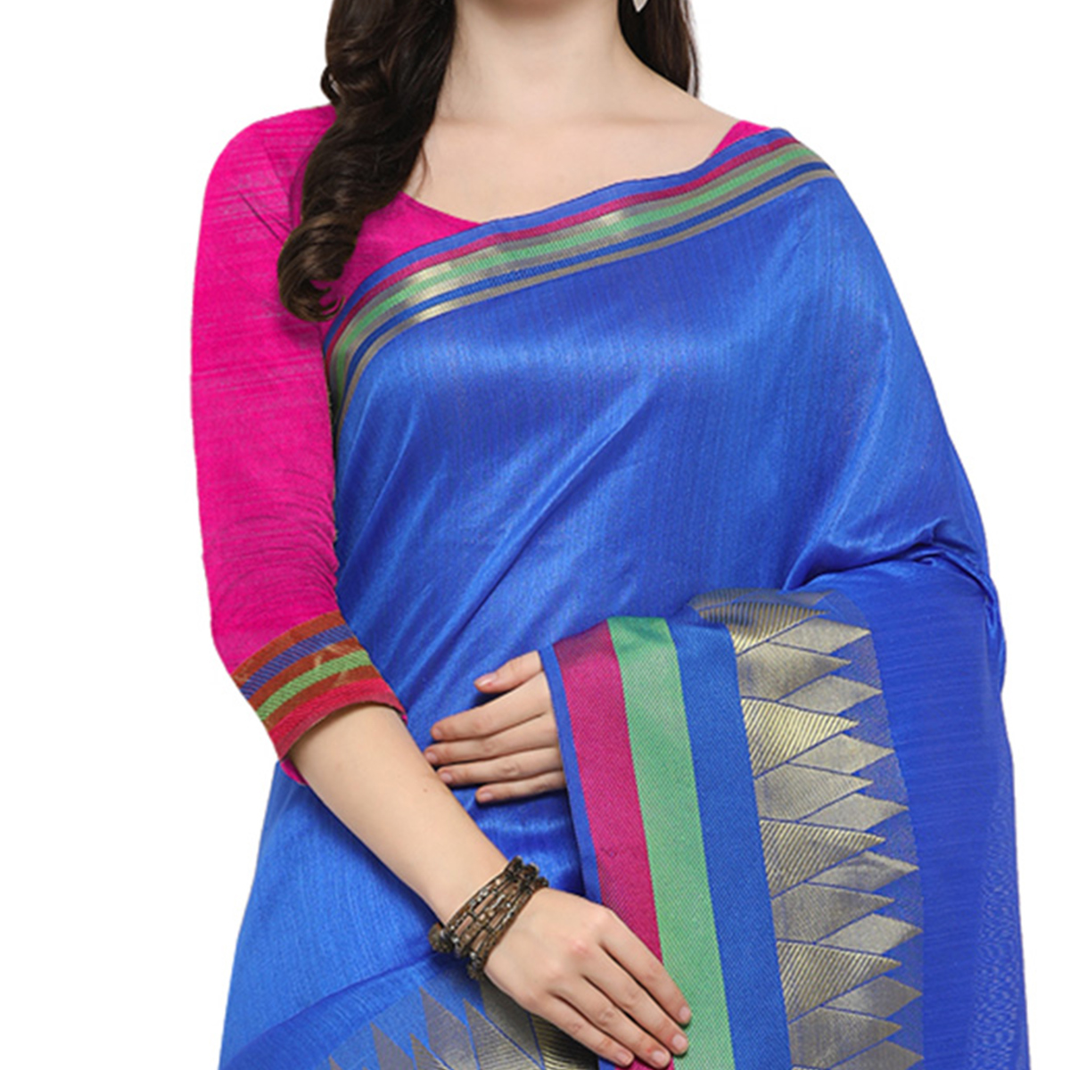 Blue Festive Wear Woven Ghicha Silk Saree
