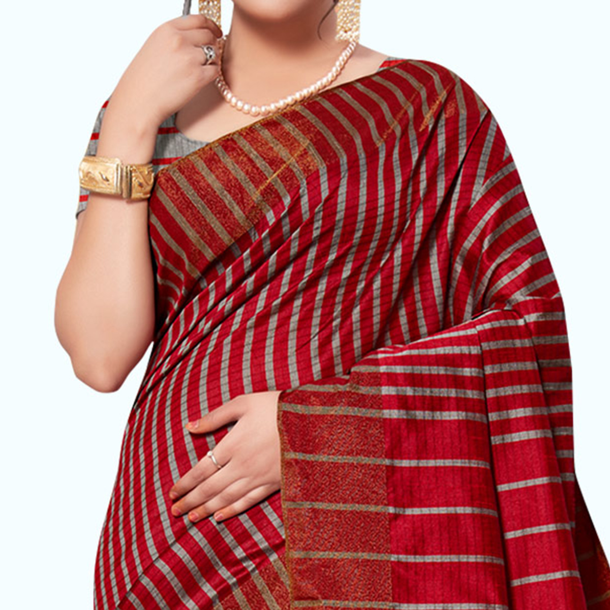 Gleaming Red-Gray Colored Festive Wear Woven Tissue Silk Saree