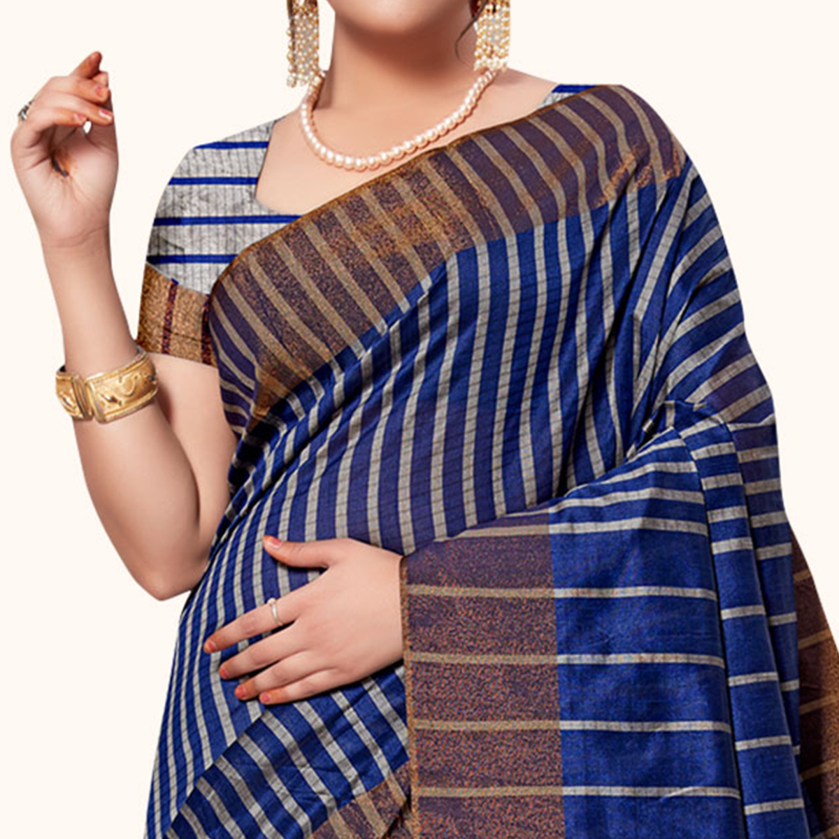 Mesmeric Navy Blue-Gray Colored Festive Wear Woven Tissue Silk Saree