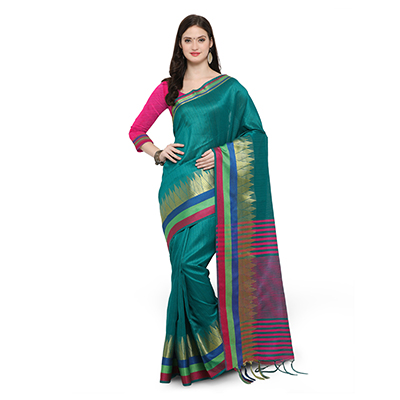 Dark Green Festive Wear Woven Ghicha Silk Saree