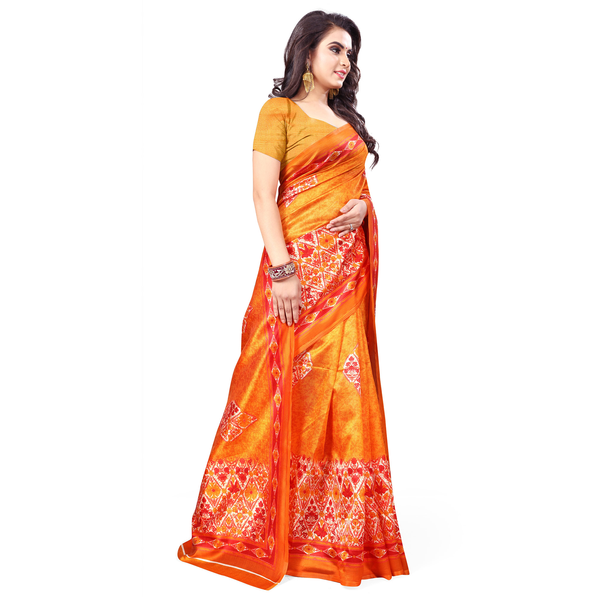 Glorious Orange Colored Casual Wear Printed Bhagalpuri Silk Saree