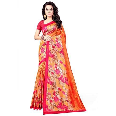 Fantastic Orange Colored Casual Wear Printed Bhagalpuri Silk Saree