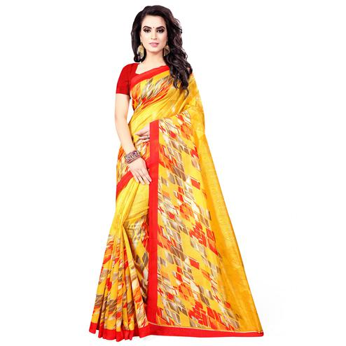 Gorgeous Yellow Colored Casual Wear Printed Bhagalpuri Silk Saree