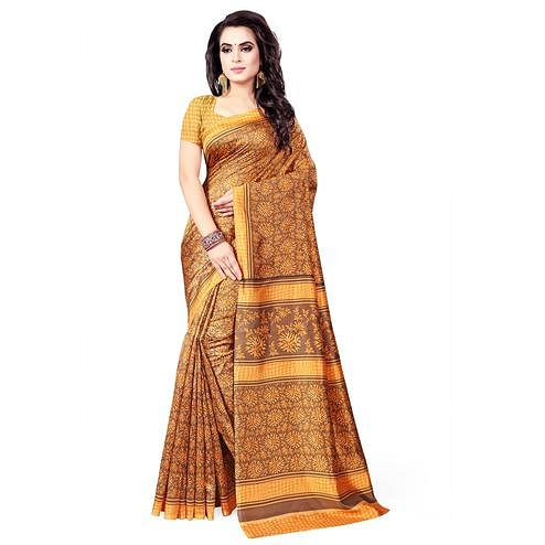 Graceful Brown - Orange Colored Casual Wear Printed Bhagalpuri Silk Saree
