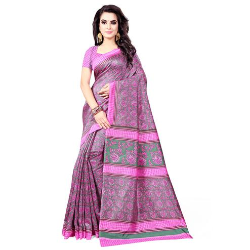 Ideal Grey - Pink Colored Casual Wear Printed Bhagalpuri Silk Saree