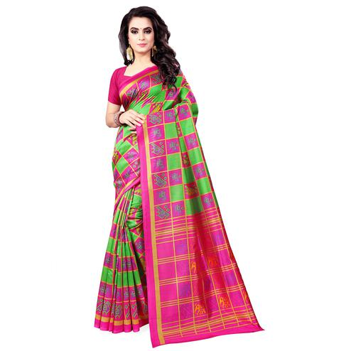 Imposing Green - Pink Colored Casual Wear Printed Bhagalpuri Silk Saree