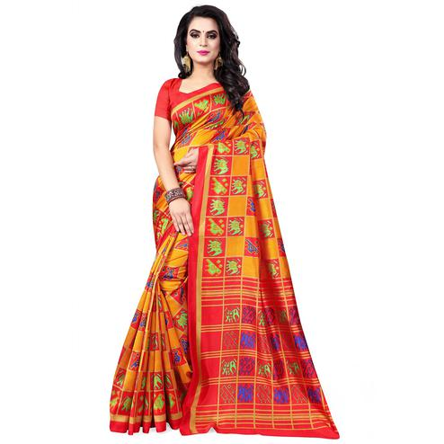 Lovely Red - Orange Colored Casual Wear Printed Bhagalpuri Silk Saree