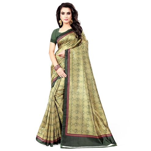 Marvellous Pastel Green Colored Casual Wear Printed Bhagalpuri Silk Saree