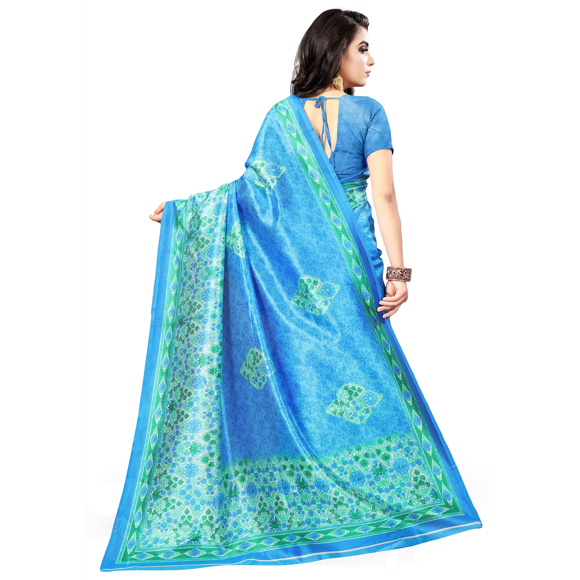 Pretty Blue Colored Casual Wear Printed Bhagalpuri Silk Saree