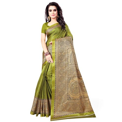 Staring Olive Green Colored Casual Wear Printed Art Silk Saree