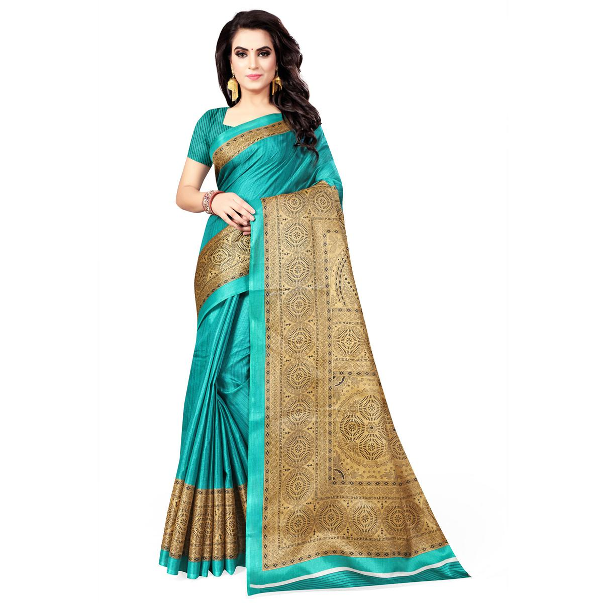 Stunning Turquoise Green Colored Casual Wear Printed Art Silk Saree