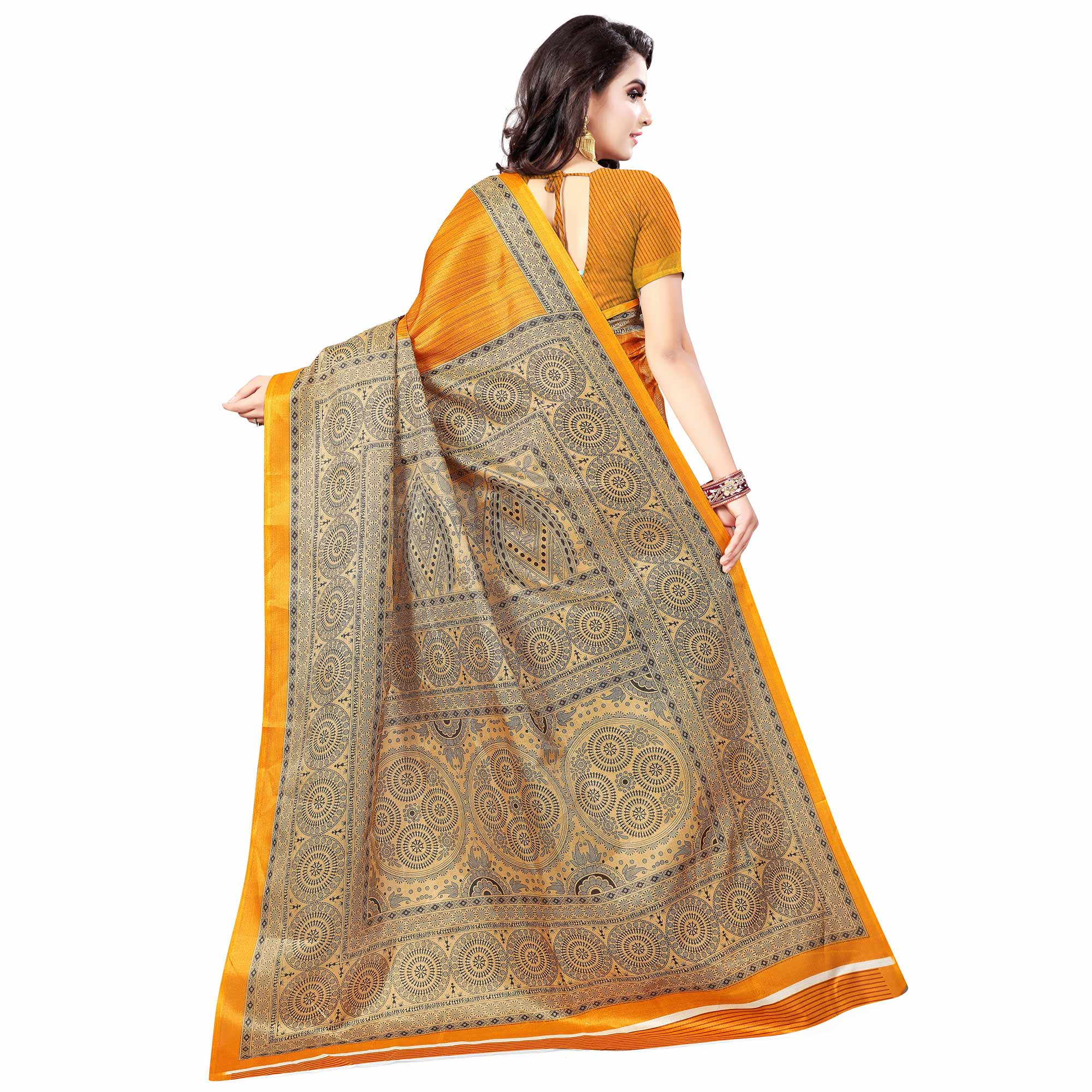 Surpassing Light Orange Colored Casual Wear Printed Art Silk Saree