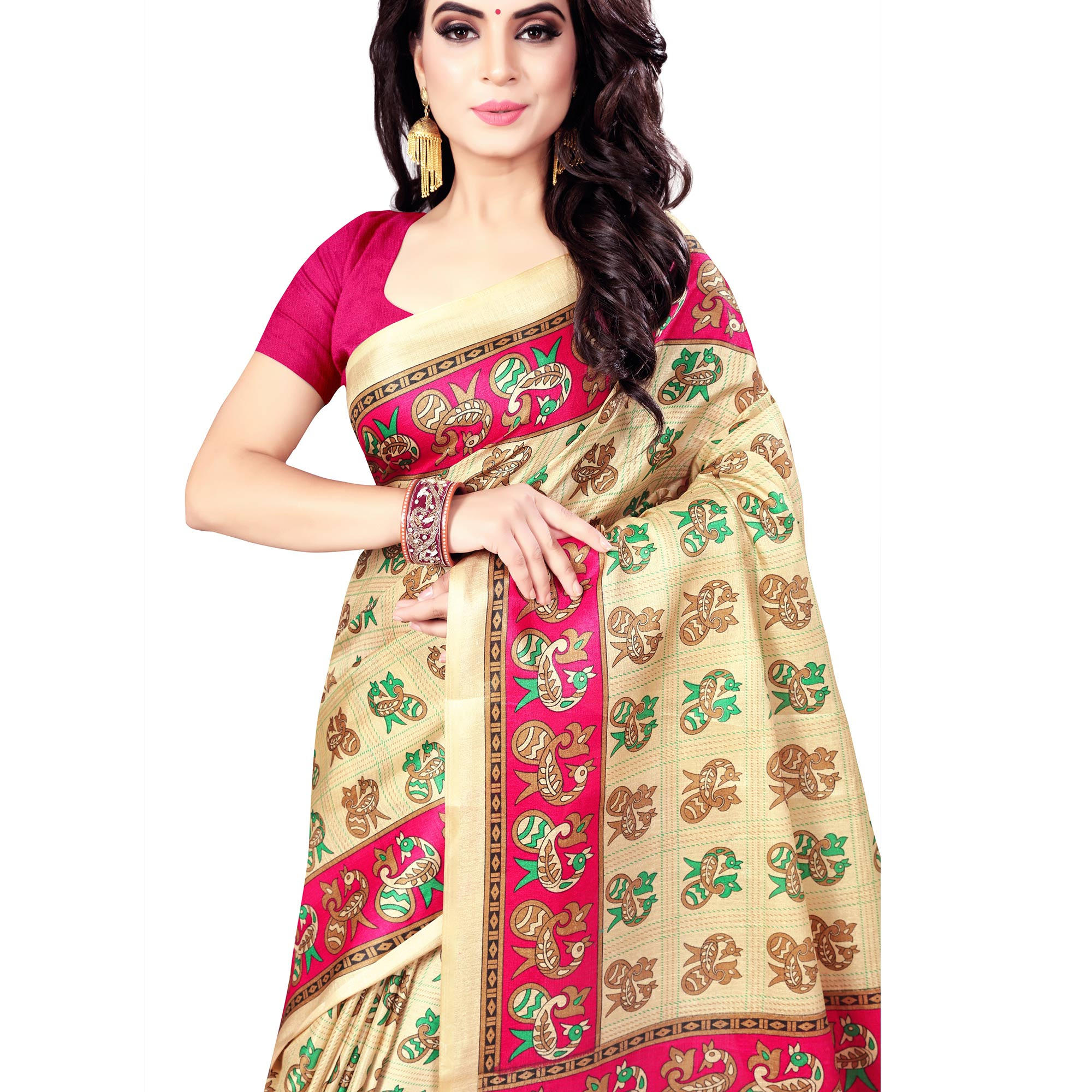 Flaunt Beige - Pink Colored Casual Wear Printed Art Silk Saree