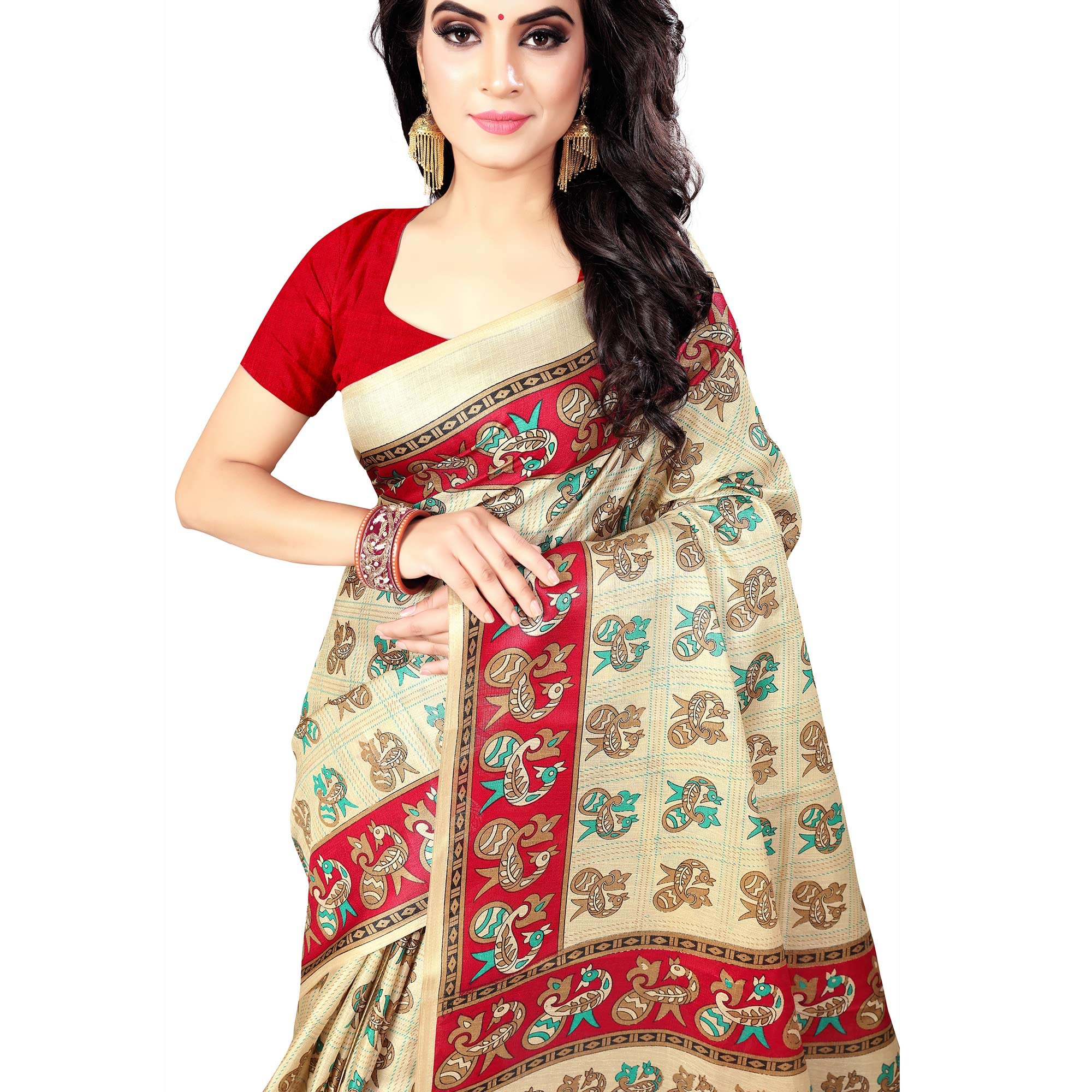 Dazzling Beige - Red Colored Casual Wear Printed Art Silk Saree