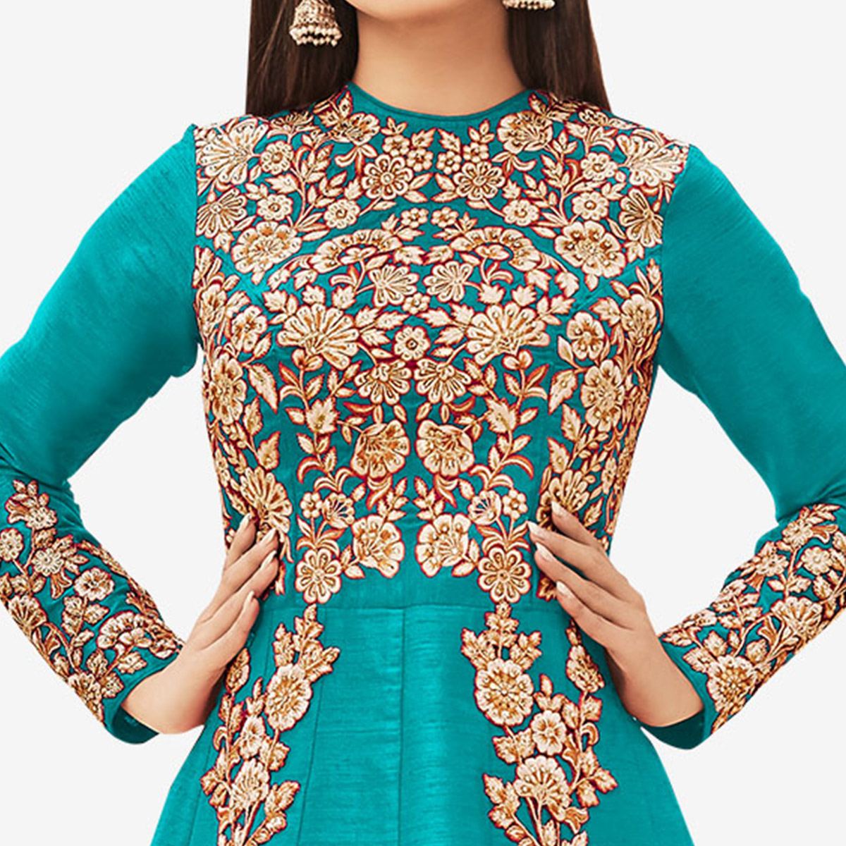 Stunning Sky Blue Colored Partywear Embroidered Silk Anarkali Suit