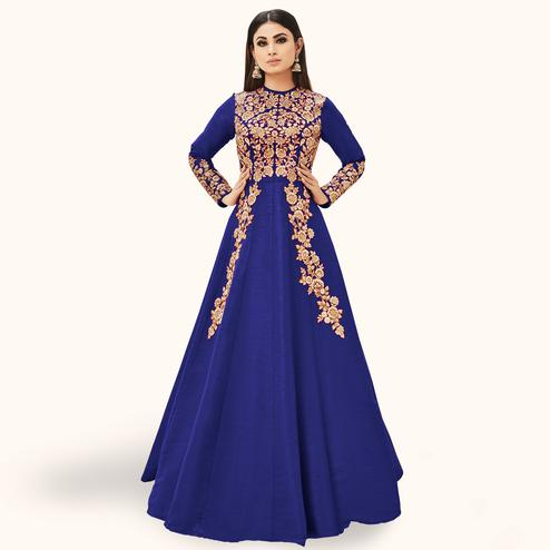 Marvellous Blue Colored Partywear Embroidered Silk Anarkali Suit