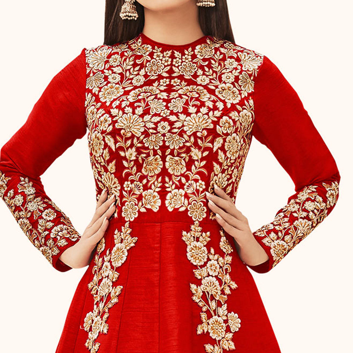 Gorgeous Red Colored Partywear Embroidered Silk Anarkali Suit