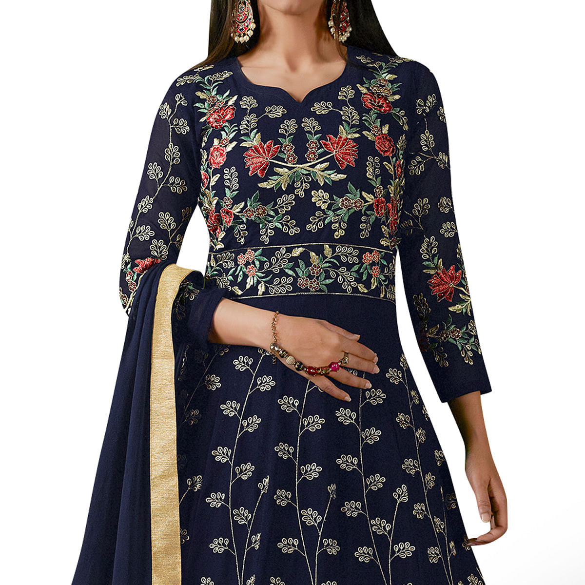 Mesmerising Navy Blue Colored Partywear Designer Embroidered Georgette Anarkali Suit