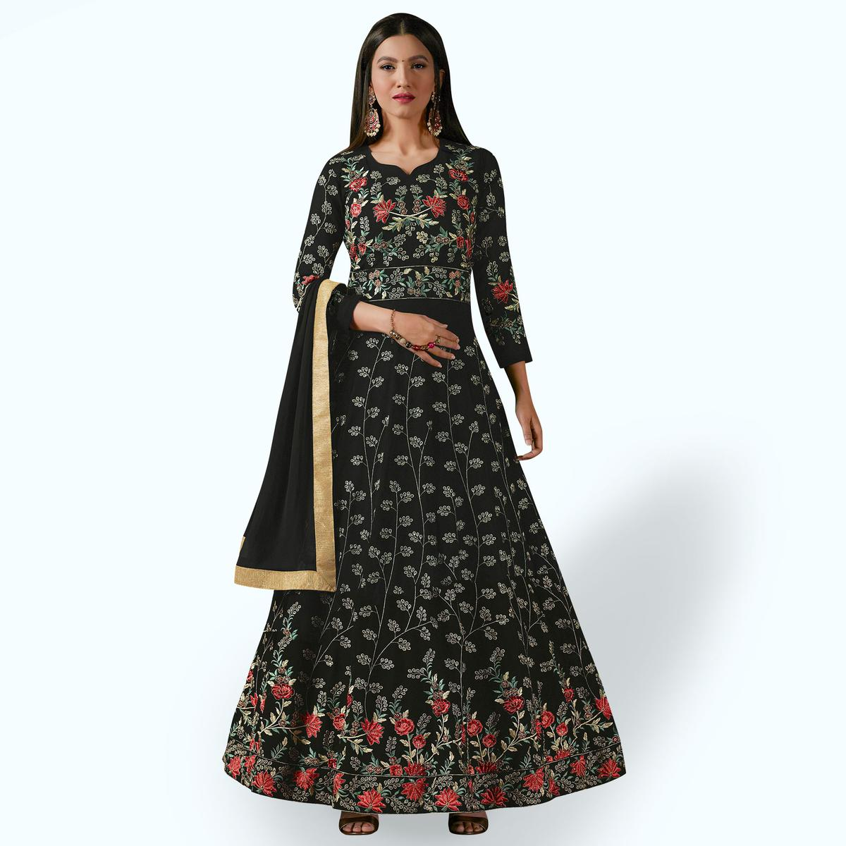 Blooming Black Colored Partywear Designer Embroidered Georgette Anarkali Suit