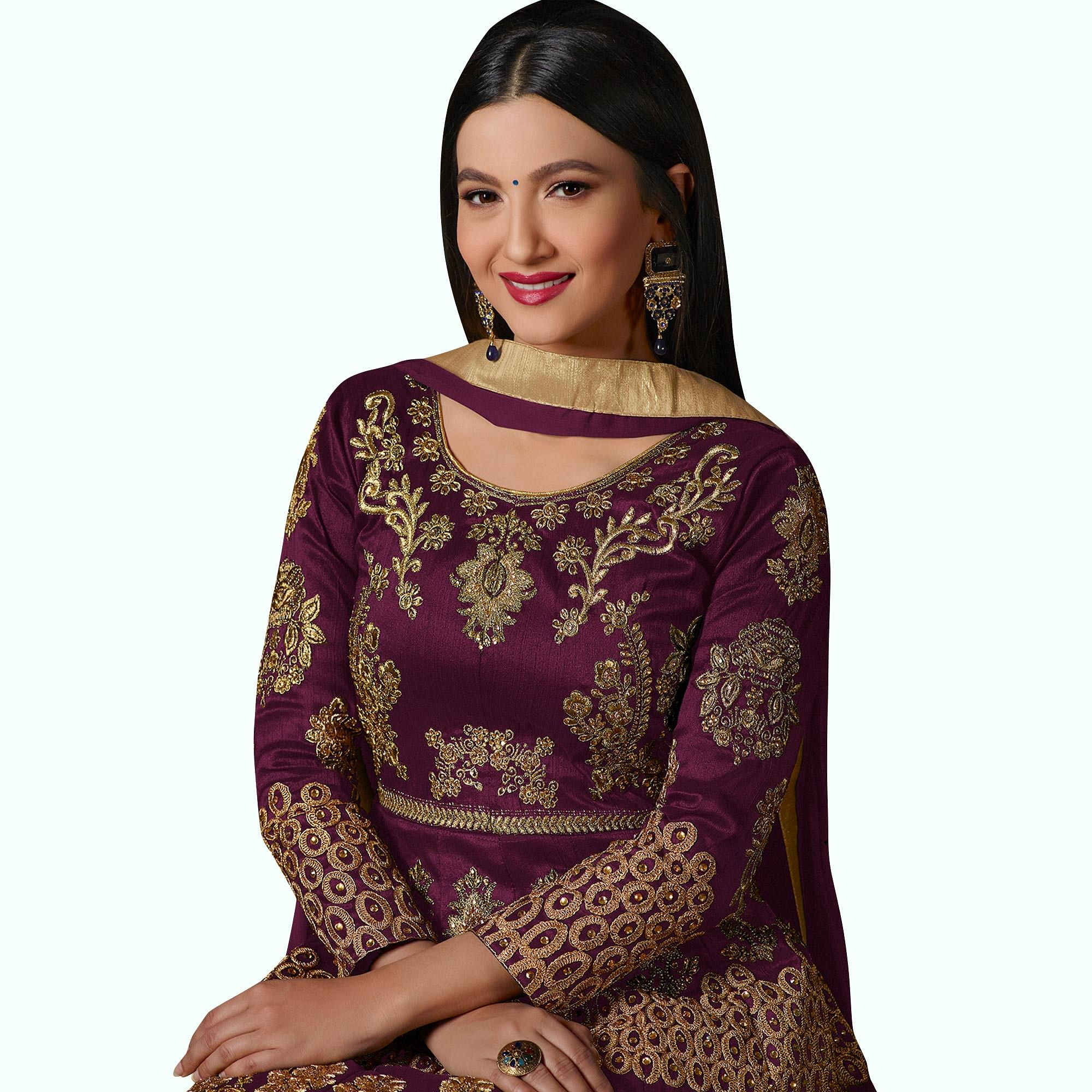 Pretty Purple Colored Partywear Designer Embroidered Tapeta Silk Anarkali Suit