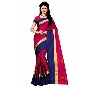Magenta Big Border Tussar Silk Saree