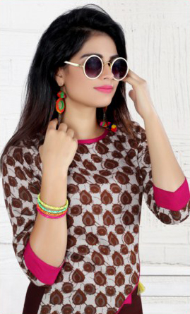 Brown Designer Printed Rayon Cotton Kurti