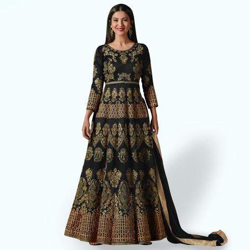 Demanding Black Colored Partywear Designer Embroidered Tapeta Silk Anarkali Suit