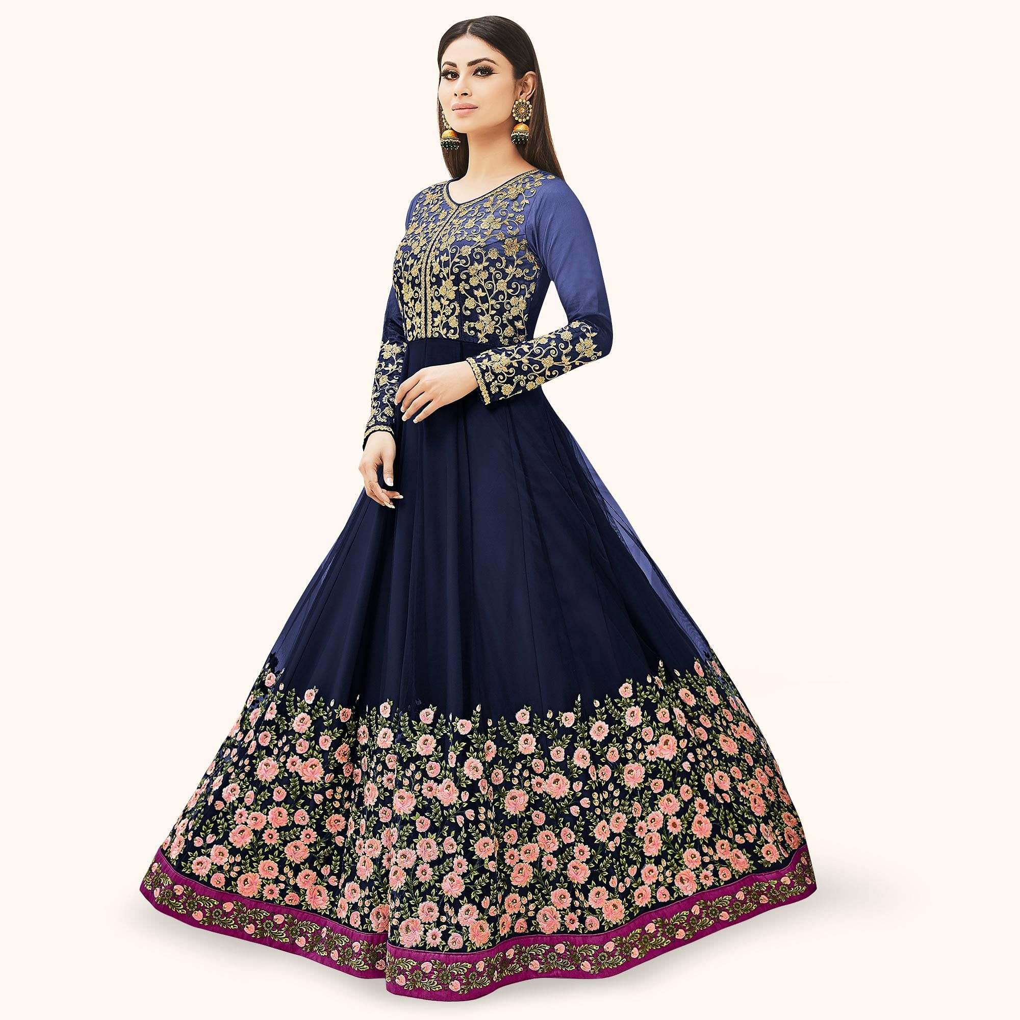 Engrossing Navy Blue Colored Partywear Embroidered Net Anarkali Suit