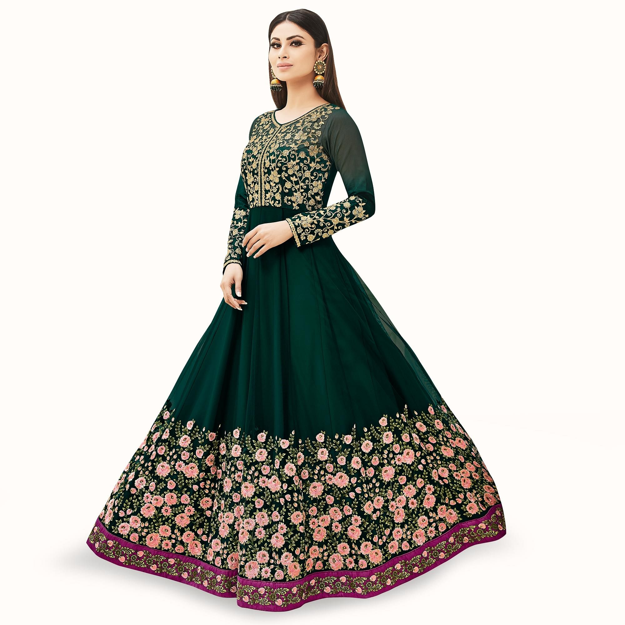 Blissful Dark Green Colored Partywear Embroidered Net Anarkali Suit