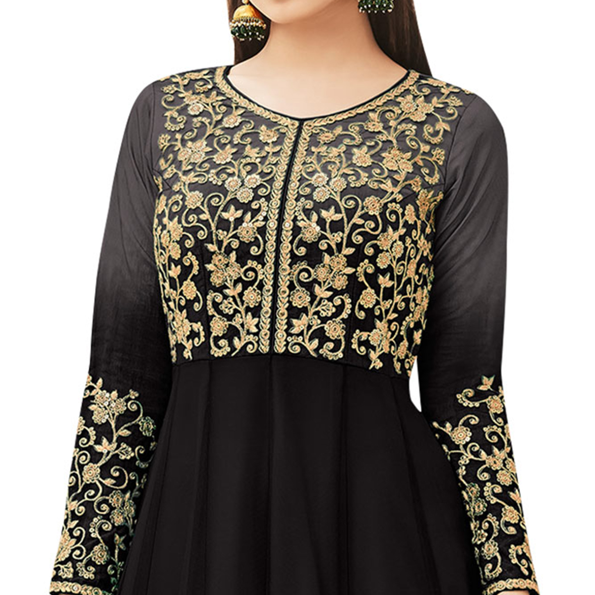 Adorable Black Colored Partywear Embroidered Net Anarkali Suit