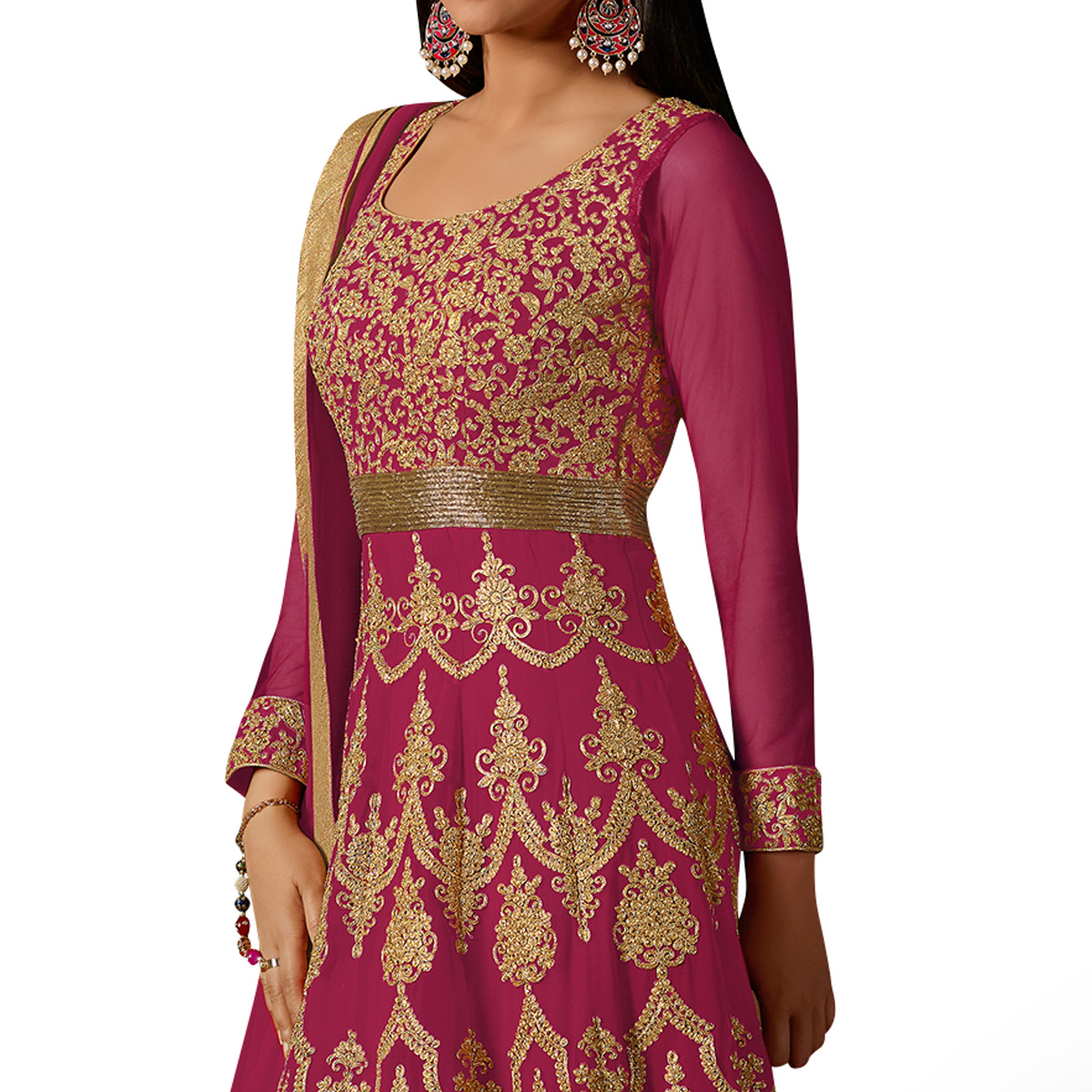 Prominent Deep Pink Colored Partywear Embroidered Georgette Anarkali Suit