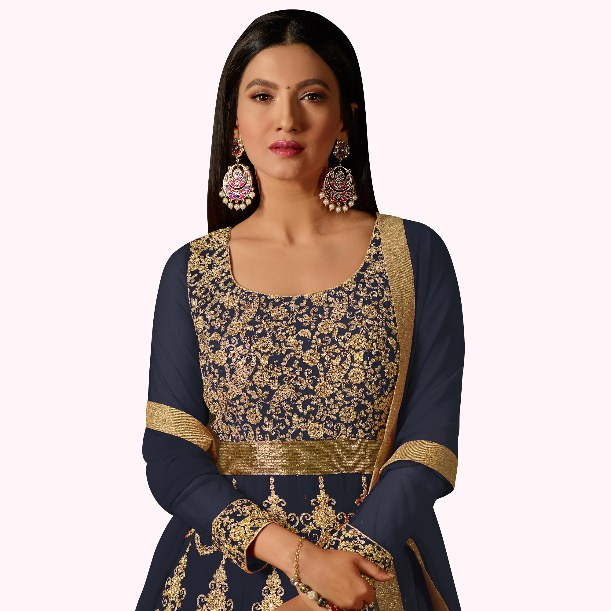 Captivating Dark Grey Colored Partywear Embroidered Georgette Anarkali Suit