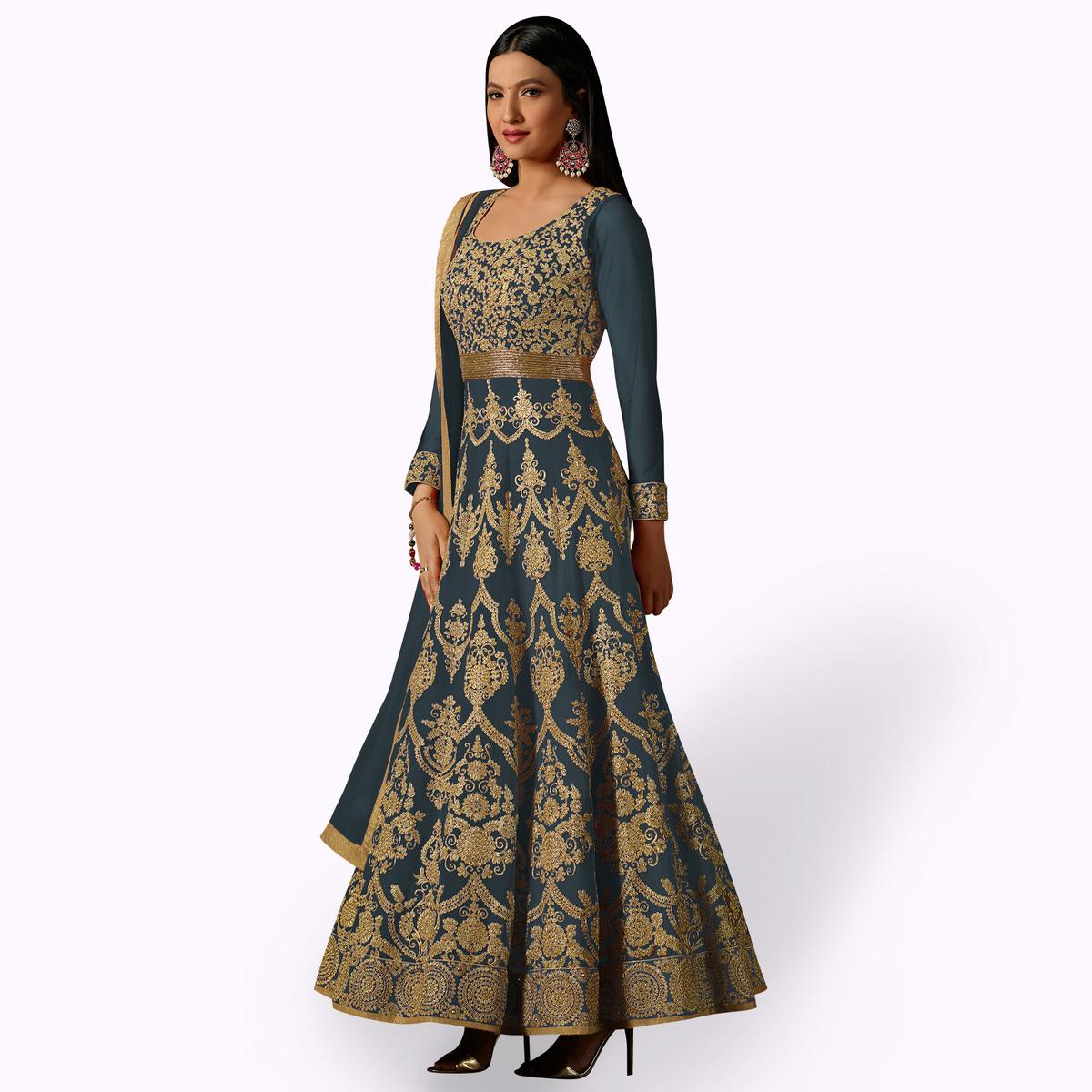 34243b485 Buy Amazing Light Grey Colored Partywear Embroidered Georgette Anarkali  Suit online India
