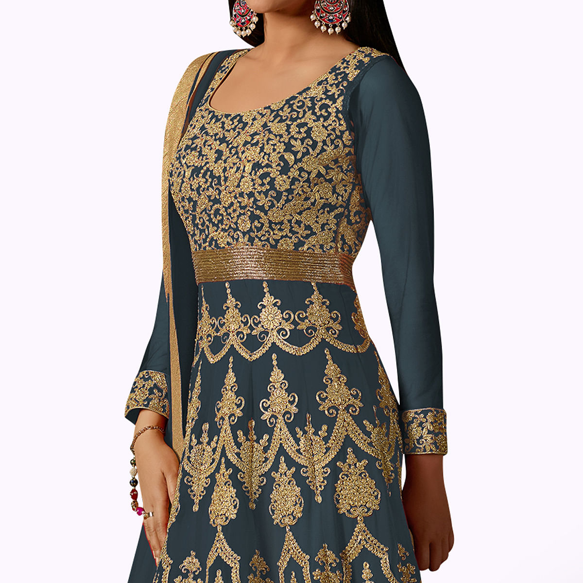 Amazing Light Grey Colored Partywear Embroidered Georgette Anarkali Suit