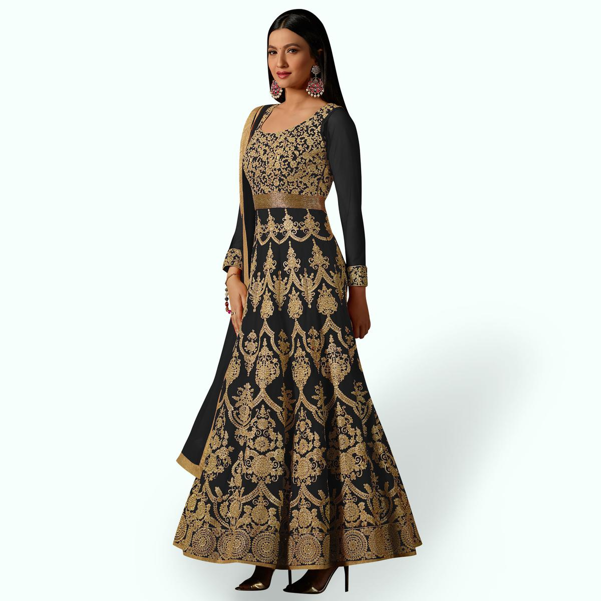 Innovative Black Colored Partywear Embroidered Georgette Anarkali Suit