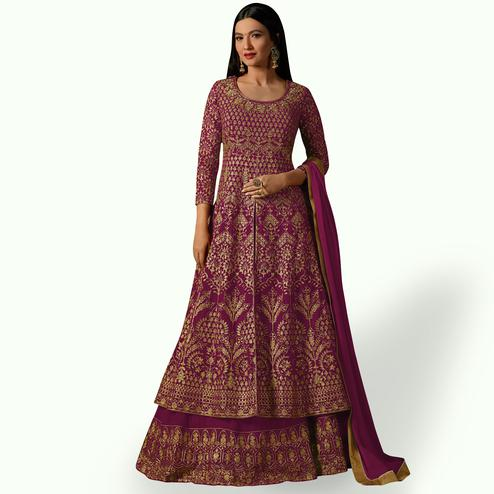Appealing Deep Magenta Pink Colored Partywear Embroidered Georgette Lehenga Kameez