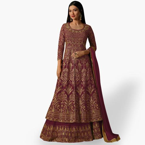 Fantastic Wine Colored Partywear Embroidered Georgette Lehenga Kameez