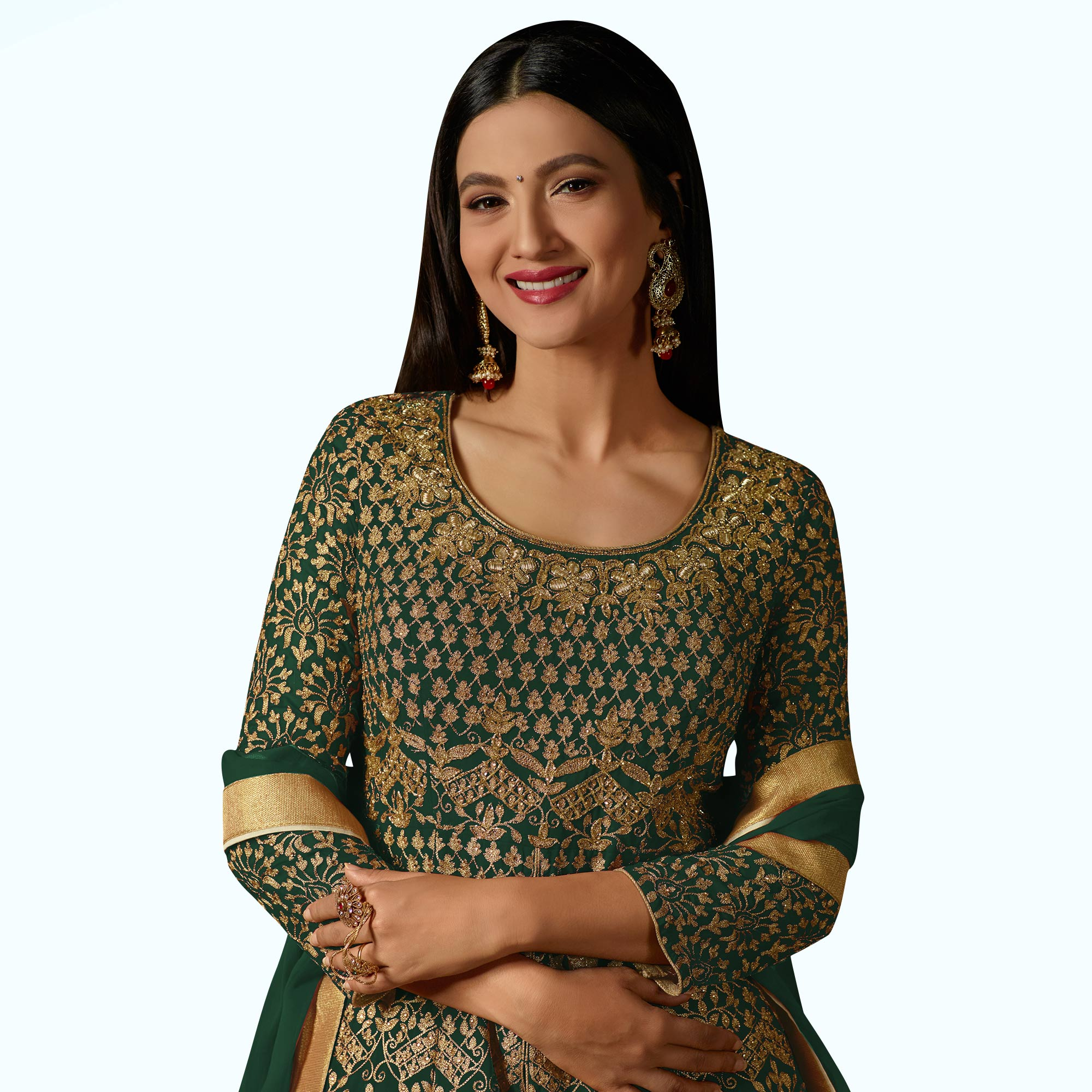 Flattering Green Colored Partywear Embroidered Georgette Lehenga Kameez