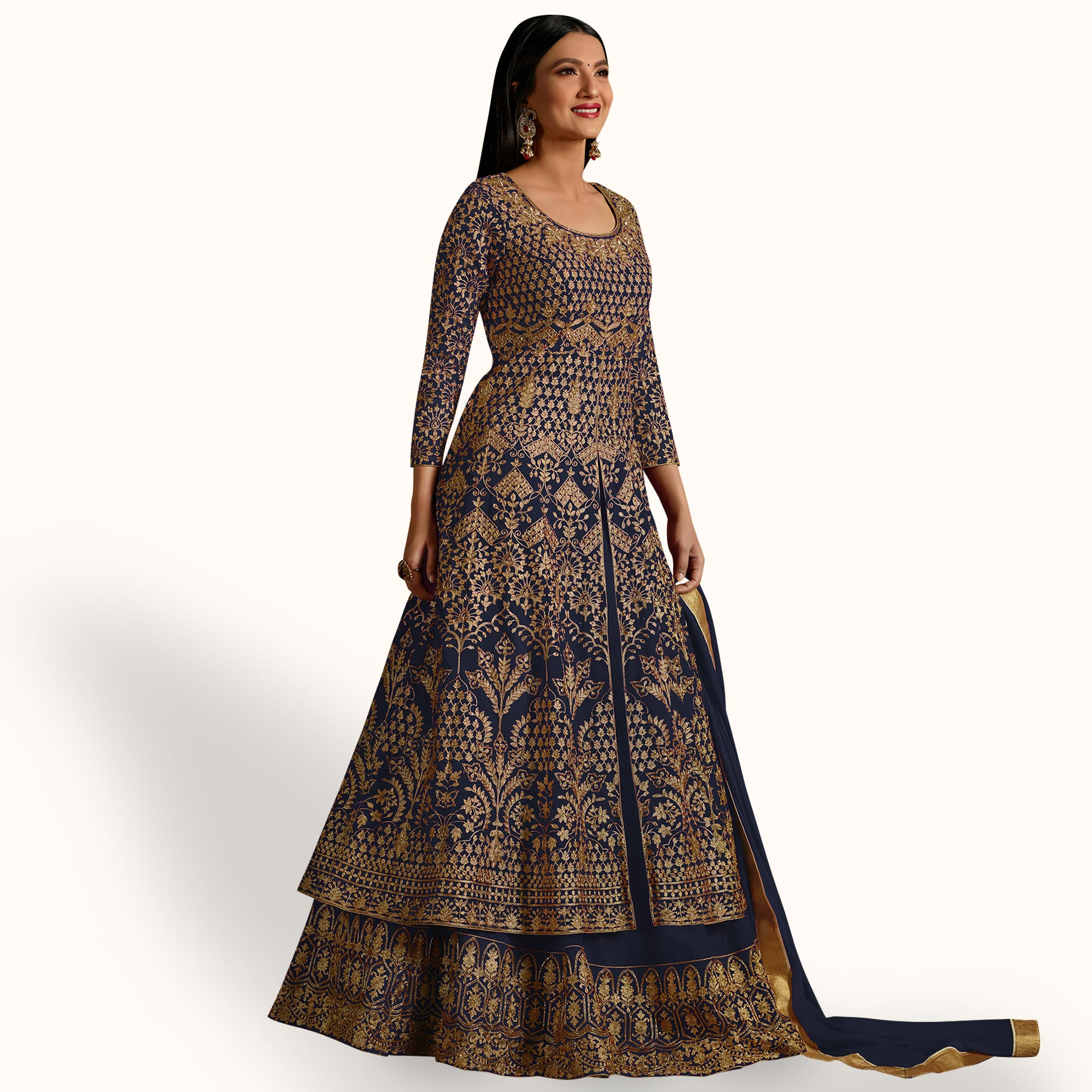 Mesmeric Blue Colored Partywear Embroidered Georgette Lehenga Kameez