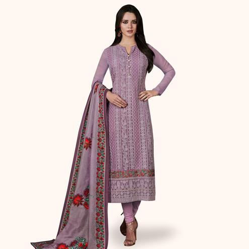 Unique Lavender Colored Party Wear Embroidered Georgette Suit