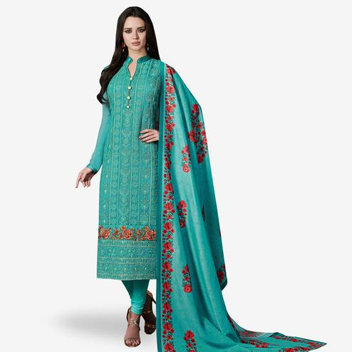 Demanding Turquoise Blue Colored Party Wear Embroidered Georgette Suit