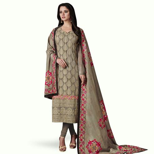 Magnetic Gray Colored Party Wear Embroidered Georgette Suit