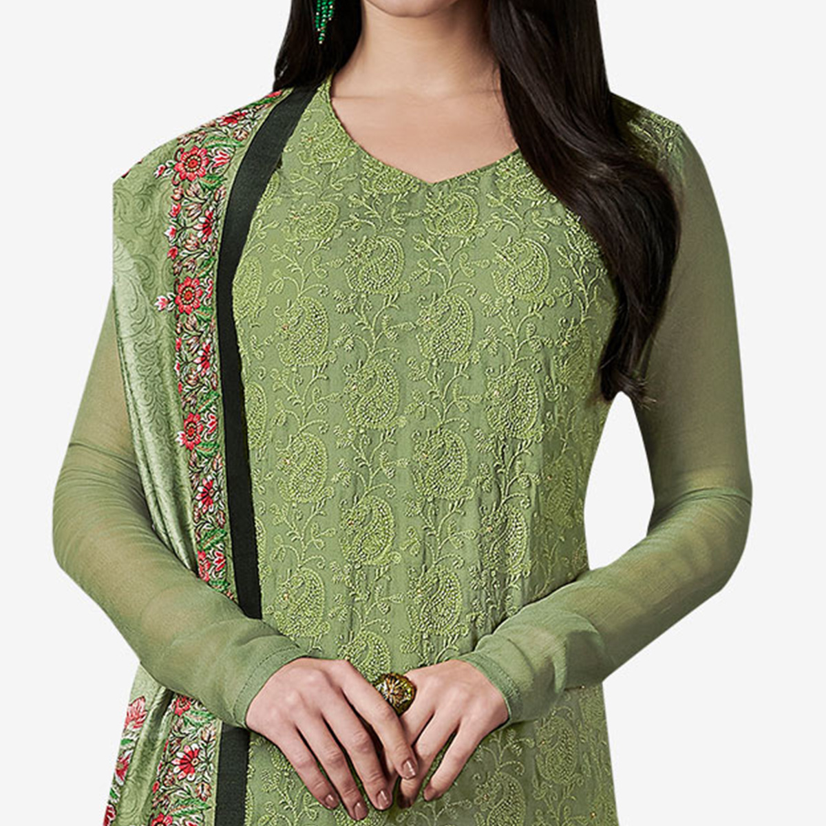 Refreshing Green Colored Party Wear Embroidered Georgette Suit