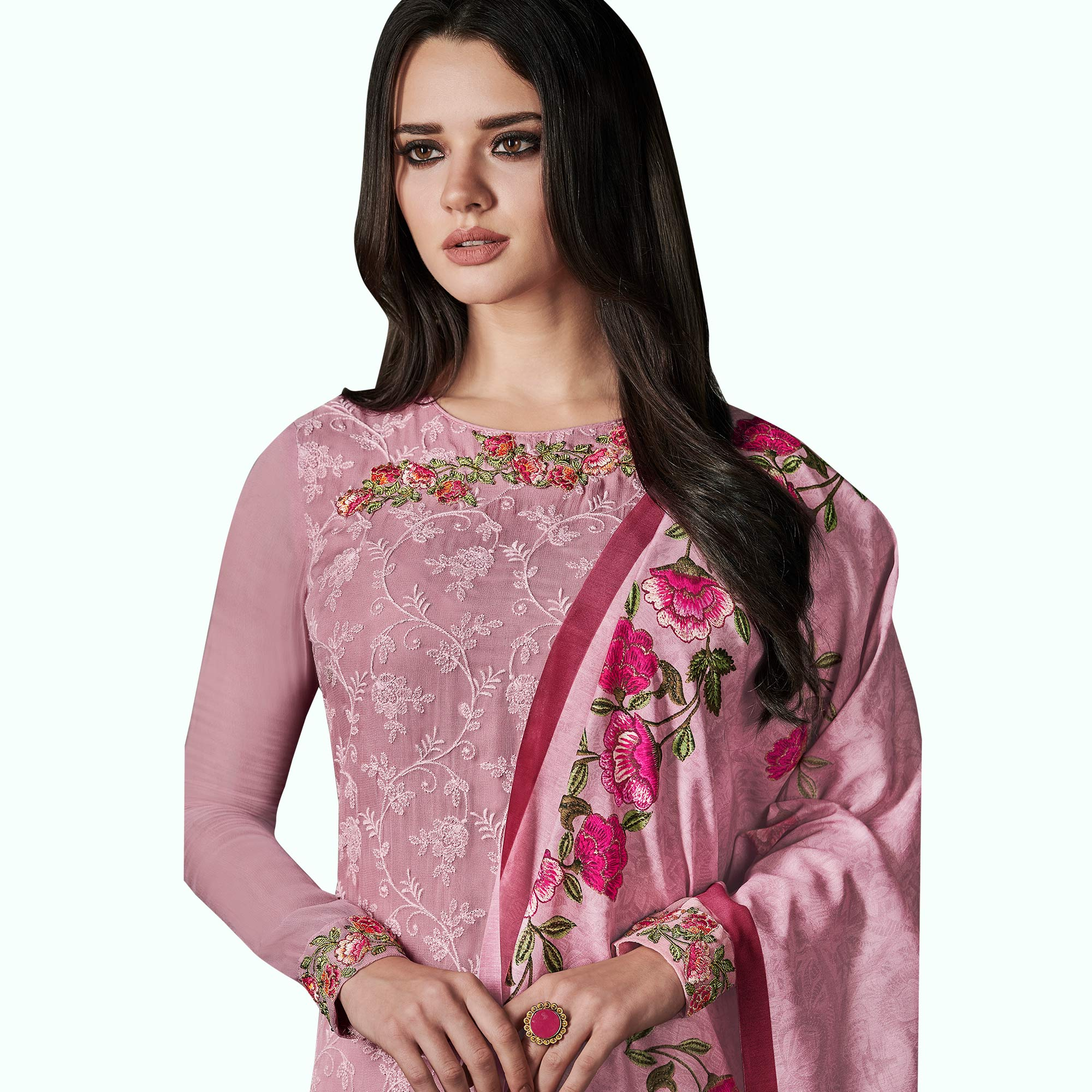 Hypnotic Pink Colored Party Wear Embroidered Georgette Suit
