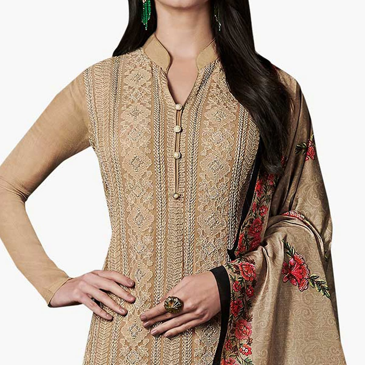 Elegant Light Brown Colored Party Wear Embroidered Georgette Suit